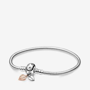 Pandora  Leaves Clasp Snake Chain Bracelet